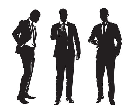Group of businessmen. Three men in dark suits standing in different poses, set of isolated vector silhouettes. Business people