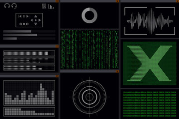 A hacker program with viruses. Computer monitor. Vector illustration.