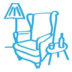 Handgezeichneter Sessel in blau