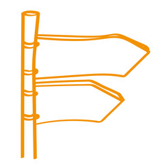 Handgezeichneter Wegweiser in orange