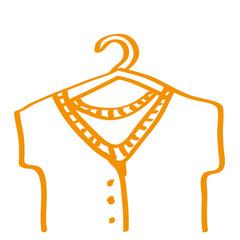 Handgezeichneter Kleiderbügel in orange