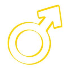 Handgezeichnetes Symbol für männlich in gelb