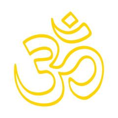 Handgezeichnetes OM-Zeichen in gelb