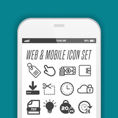 Smartphone with necessary application icons on screen. Flat vector illustration.