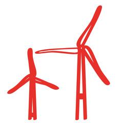 Handgezeichnetes Windrad in rot