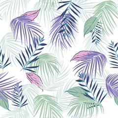 Hawaii print vector seamless beautiful artistic Bright summer tropical pattern with exotic forest. Colorful original stylish floral mix with leaves  background