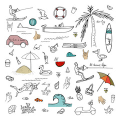 Vector illustration. Summer objects collection. Vector objects set.
