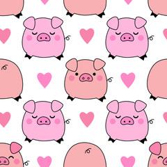 Cute pigs seamless pattern background