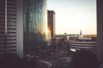 Birmingham glass buildings panoramic view at sunrise/sunset  Fototapete