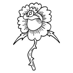 line drawing cartoon rose tattoo symbol