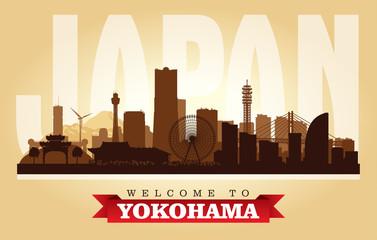 Yokohama Japan city skyline vector silhouette