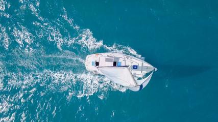 Sailing Yacht at The Mediterranean Sea - Aerial image