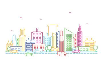 City Cityscape Skyline Landscape Building Street Design Illustration
