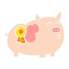 flat color illustration of a cartoon prize winning pig