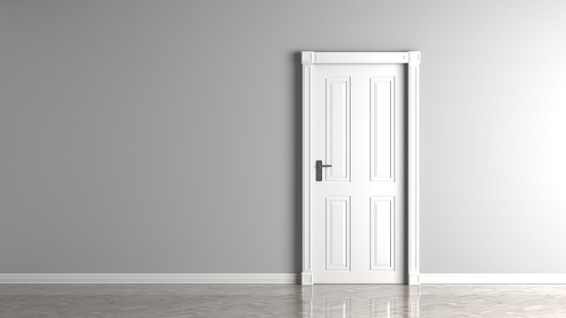 Gray empty wall and closed white door mock up.3D illustration.