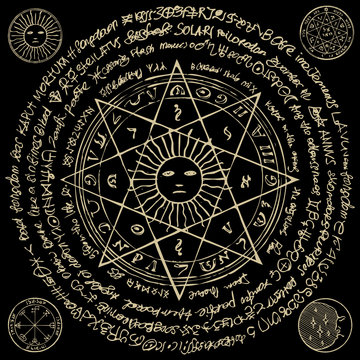 Illustration of the sun in an octagonal star with magical inscriptions and symbols on the black background. Vector banner with old manuscript in retro style
