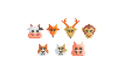 pixel art animal vector logo icon