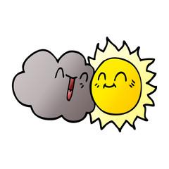 cartoon doodle happy sun and cloud