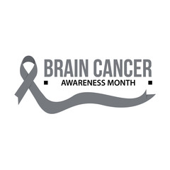 Awareness month ribbon cancer. Brain cancer awareness vector illustration