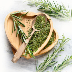 Dried rosemary with fresh rosemary twigs