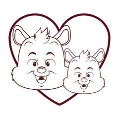 Cute skunks cartoon