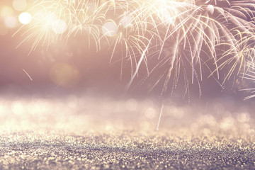 Fototapete - Vintage Fireworks and bokeh in New Year eve and copy space. Abstract background holiday.