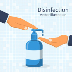 Liquid soap with pumping from bottle. Disinfection concept. Applying a moisturizing sanitizer. Man washing hands. Vector illustration flat design. Isolated on blue background. Place for text, template