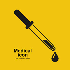 Dropper icon. Element of medical, chemistry lab equipment set. Black pipette icon isolated on background. Medical sign silhouette pictogram. Vector illustration.