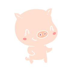 cute flat color style cartoon pig