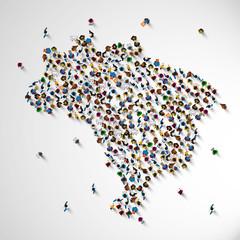 Brazil many people sign map. Vector illustration