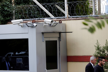Security cameras are pictured at the entrance of the Saudi Arabia's consulate in Istanbul