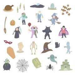 Halloween set doodle, drawing, cartoon