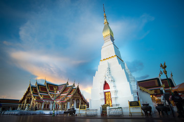 Beautiful sunset in Wat Pratat Choeng Chum at Sakon Nakhon Province, Thailand.