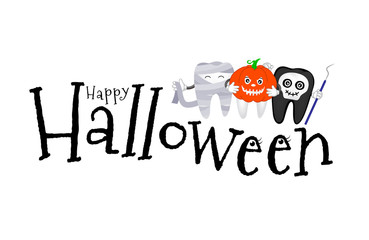Happy Halloween lettering design. Vector illustration isolated on white background. Holiday calligraphy with cute cartoon tooth for banner, poster, greeting card, party invitation.