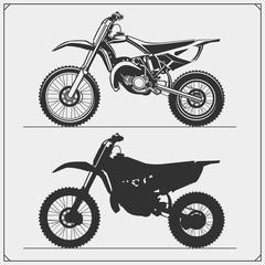 Set of motorcycles. Motocross, motofreestyle, mototrial. Emblems of bikers club. Monochrome design.