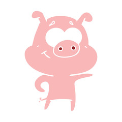 flat color style cartoon pig pointing