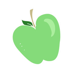flat color illustration of a cartoon apple