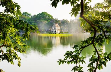 Turtle Tower in Hanoi Hoan Kiem lake in Vietnam