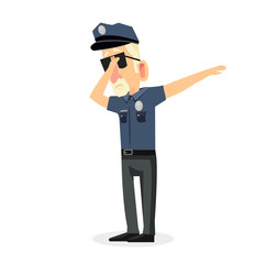 man police office doing dabbing movement