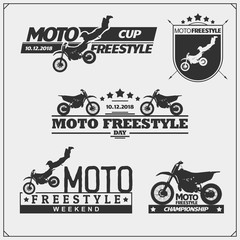 Set of motorsport silhouettes, labels and emblems. Motocross jumping riders, moto freestyle.
