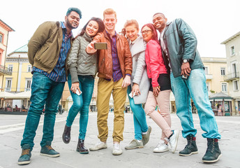 Happy millennials friends making story video with smartphone
