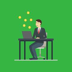 Cartoon Blockchain Concept with Business Man. Vector