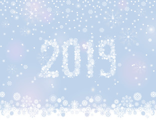 Glittering 2019 New Year from snowflakes on silver grey background with snowfall around it. Vector illustration for winter design