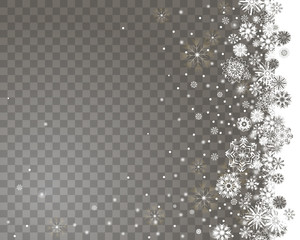 falling snow border on a transparent background abstract snow background for your merry christmas and
