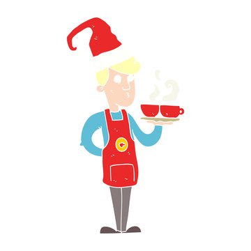 flat color illustration of a cartoon barista serving coffee at christmas