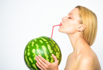 Fresh bar concept. Woman enjoy natural juice. Watermelon cocktail beverage. Girl attractive nude drink fresh juice whole watermelon cocktail straw white background. Organic healthy nutrition