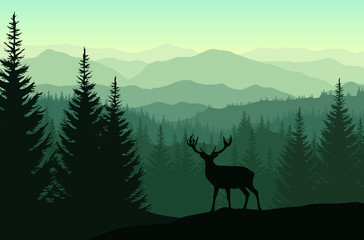 Vector green landscape with silhouettes of misty mountains, forests and deer