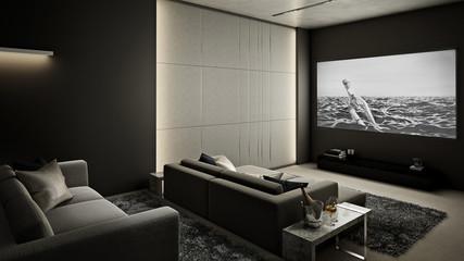 Home Theater room , Modern Luxury interior #2 , 3D render