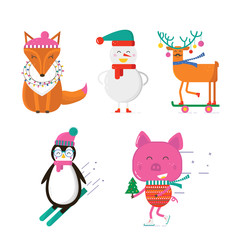 Merry Christmas greeting card with cute animals: pig, reindeer, penguin, fox and snowman