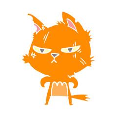 tough flat color style cartoon cat